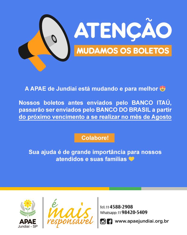 ATENÇÃO DOADORES: Boletos agora vão pelo Banco do Brasil