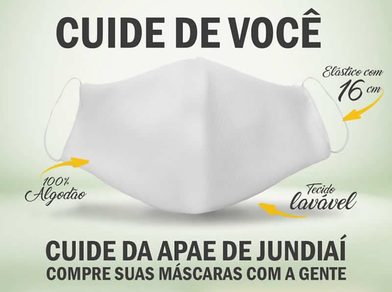 APAE de Jundiaí está comercializando máscaras de tecido 100% algodão
