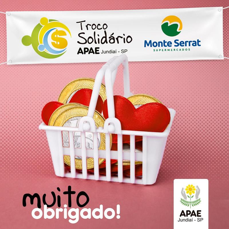 Campanha Troco Solidário com o supermercado Mont Serrat arrecada R$ 3.838,19 para a APAE de Jundiaí